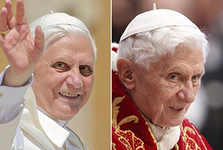 Pope Benedict is shown in side-by-side images from 2005 and 2012. At left is the pope in a photo taken May 4, 2005 about two weeks after his election. At right is an image taken Feb. 6 at the Vatican.