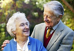 Drs. Evelyn and John Billings are pictured in the garden of their home in Melbourne, Australia, in this 2004 file photo.