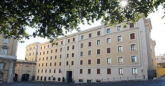 The Domus Sanctae Marthae, the residence where cardinal electors will rest during the conclave, is pictured at the Vatican.