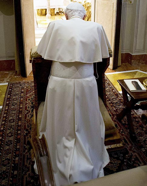 Pope Benedict prays in a private chapel during the closing day of a spiritual retreat at the Vatican Feb. 23.