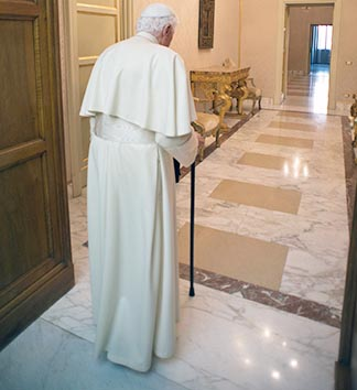 Pope Benedict retires to the apartment in Castel Gandolfo after appearing for the last time.