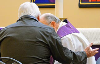 Msgr. Jack Hamilton heard confessions March 6 in Sherwood Park.