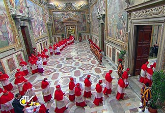 Cardinals from around the world are seen entering the Vatican's Sistine Chapel March 12 to begin the conclave to elect a successor to Pope Benedict XVI.
