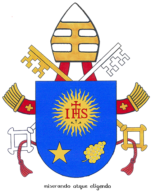 The coat of arms of Pope Francis is based on the blue shield symbolizing the Society of Jesus. The five-pointed star and the buds of a spikenard flower represent respectively Mary and St. Joseph. The papal motto is 'Miserando atque eligendo,' which means, having mercy, he called him.