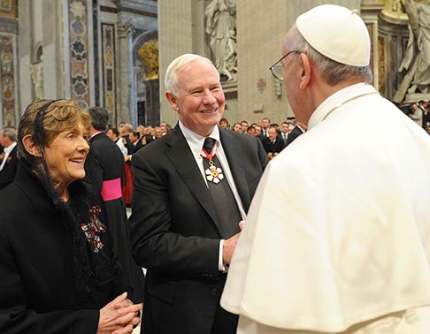 Pope Francis greets Canada's Gov. Gen. David Lloyd Johnston and his wife, Sharon, in St. Peter's Basilica at the Vatican March 19 as the new pontiff receives dignitaries following his inaugural Mass. The Johnstons led Canada's delegation to the ceremonies.