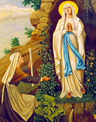 A painting depicts the appearance of Mary to St. Bernadette of Lourdes France in 1858.