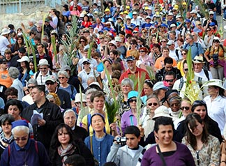 Pilgrims carry palm branches during the Palm Sunday procession on the Mount of Olives.