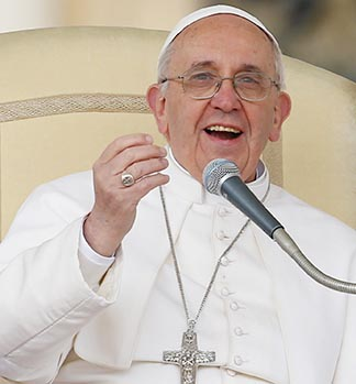 Pope Francis leads his general audience in St. Peter's Square at the Vatican April 3.