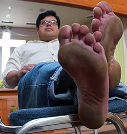 Roberto Santiago of Portland, Ore., who goes barefoot in solidarity with the poor.