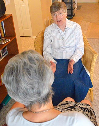 Among Sr. Gertrude Sopracolle's many tasks is counselling people who feel they may have a religious vocation.