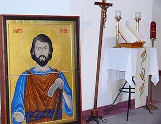 The St. Joseph the Worker icon sat near the altar in Hinton's Our Lady of the Foothills Church.