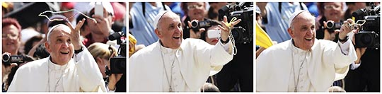 A combination of pictures shows Pope Francis catching a rosary thrown by someone in the crowd as he arrives for his weekly general audience in St. Peter's Square at the Vatican June 5, 2013.
