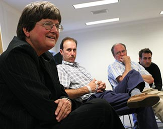 Sr. Helen Prejean, speaks before a gathering of exonerated death-row inmates.