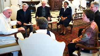 Pope Francis meets with leaders of the Latin American and Caribbean Confederation of Religious during a private audience June 6.