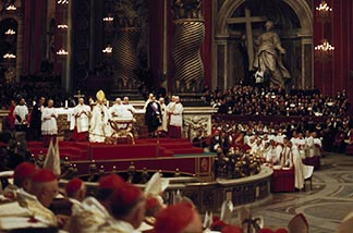 Pope Paul VI presides over a meeting of the Second Vatican Council in St. Peter's Basilica at the Vatican. Paul VI became the first pope in 500 years to leave Italy of his own volition.