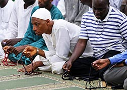 Muslims take part in prayers during the I'tikaf, a spiritual retreat in a mosque that is usually held during the last 10 days of Ramadan, at the Sanusi Dantata Memorial Jummu'at mosque in Abuja, Nigeria, July 31.
