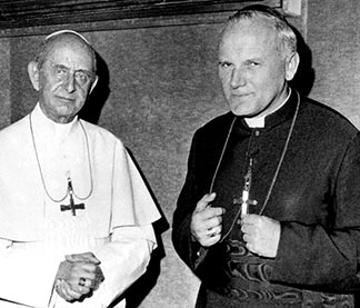 Poland's Archbishop Karol Wojtyla (right), the future Pope John Paul II, began to rise to global prominence with his contributions to the Decree on Religious Liberty and the Pastoral Constitution on the Church in the Modern World at  Vatican II.