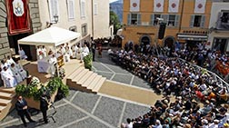Pope Francis celebrates a Mass for the feast of the Assumption of Mary in the main square of Castel Gandolfo, during one of only two trips he has made to the small town in the hills near Rome this summer.