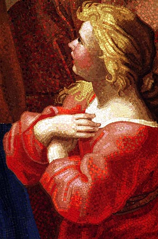 This small detail showing Mary at the age of 3 is part of a mosaic copy of Francesco Romanelli's 17th-century painting of Mary climbing the steps of the Temple. According to the apocryphal gospels, Joachim and Anne brought Mary to the Temple to consecrate her to God. The mosaic hangs over a side altar in St. Peter's Basilica