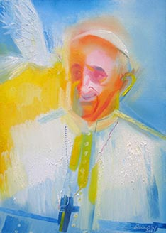Pope Francis is depicted in a painting by Stephen Whatley.