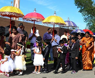 Members of Edmonton's Catholic Syro-Malankara Community prepare to process into St. Theresa Church for Holy Mass on September 2.
