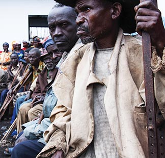 Old men who are assisted by Jesuit Refugee Services are pictured in Mweso, Congo.
