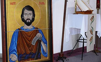 The jubilee icon of St. Joseph the Worker, shown here at Sacred Heart Church in Edson, reminds us to be open to God working in our lives.