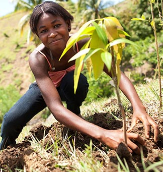 Fedlen Philo plants a mango tree with a youth group encouraging sustainable development in Kafou Kols, Haiti.