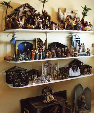This is but a glimpse of Linda Miller's vast crèche collection.