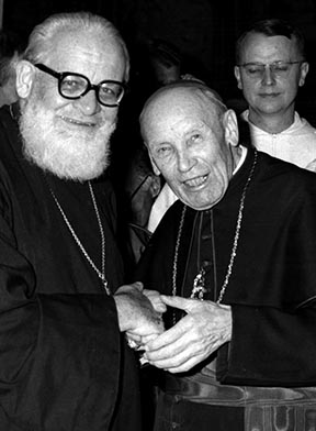 Cardinal Augustin Bea (right) shakes hands with a leader of the Russian Orthodox Church from Switzerland in this undated photo.