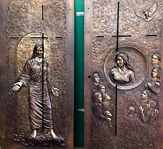 Here is the front and back of the Holy Door to be installed at la Basilique-cathedrale Notre-Dame de Quebec.