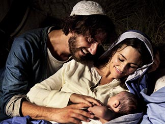 Luca Marinelli portrays Joseph and Alissa Jung as Mary in a scene from the movie Mary of Nazareth.