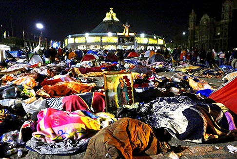 Pilgrims camp outside Mexico City's Basilica of Our Lady of Guadalupe in preparation for the Guadalupe feast Dec. 12. The appearance of Mary to St. Juan Diego in Mexico in 1531 is said to have resulted in millions of conversions to Catholicism.