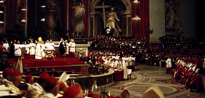 Pope Paul VI presides over a meeting of the Second Vatican Council in St. Peter's Basilica in this undated photo.  The pope was embarrassed at the council when, after he praised a proposed document on the Church's missionary activity, the council fathers overwhelmingly rejected it.