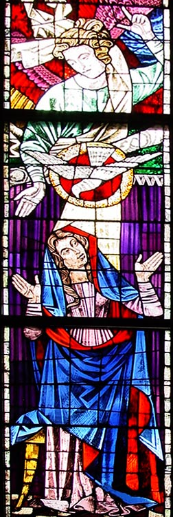 The glass window of the Annunciation.