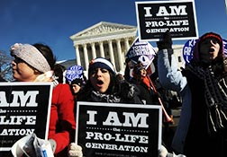 Young people hold signs outside the U.S. Supreme Court building during the March for Life in Washington Jan. 22.