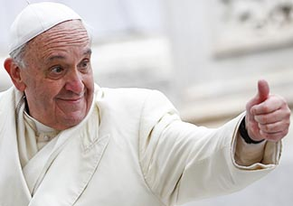 Pope Francis gives the thumbs up during his general audience in St. Peter's Square at the Vatican Jan 29.