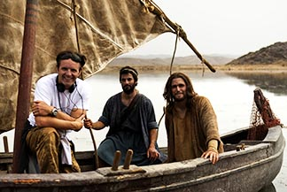 Producer Mark Burnett, actors Darwin Shaw and Diogo Morgado are seen on the  set of the movie Son of God.