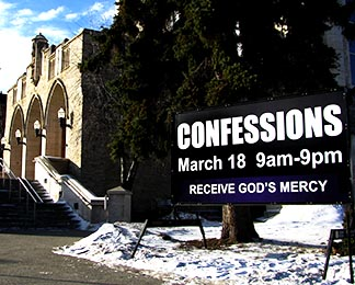 St. Joseph's Basilica already has a sign out front advertising this year's Day of Confession.