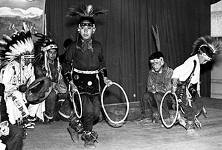 Students dance at the opening of the new residential school in Hobbema in 1957.