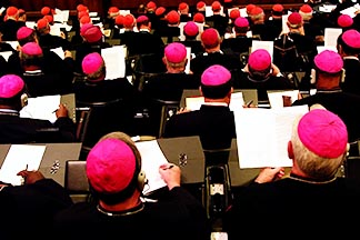 Bishops from around the world meet in the 2001 world Synod of Bishops at the Vatican, which focused on the ministry of bishops.