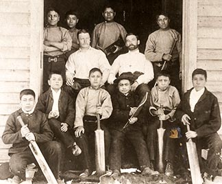 Boys at the Qu'Appelle Industrial School in 1890 had their own cricket team.