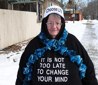 Janet Maclellan staged a solitary vigil across the street from Edmonton's abortion clinic.