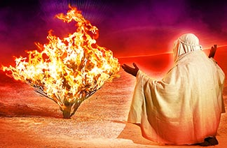 Moses sits in front of the burning bush as told in the book of Exodus.