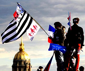 People wave flags at the Esplanade des Invalides as they attend a protest march called La Manif pour Tous (Demonstration for All) against France's legalization of same-sex marriage in Paris May 26.