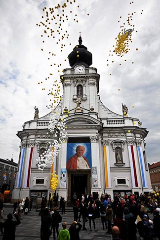 Balloons are released April 27 as people celebrate the canonization of St. John Paul II in his hometown, Wadowice, Poland.
