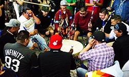 The 12-man Northern Cree from Saddle Lake was one of 21 drum groups at the powwow.