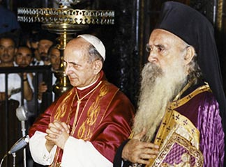 Pope Paul VI and Ecumenical Patriarch Athenagoras attend a prayer service in Jerusalem in January 1964