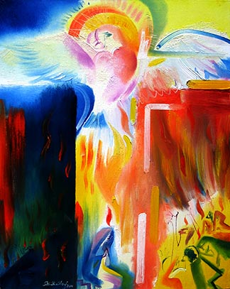 Peace of The Holy Spirit: Pentecost is depicted in a painting by Stephen B. Whatley, an expressionist artist based in London. Whatley's depiction of the descent of the Holy Spirit provides an alternative to religious art that shows Pentecost as a neat and orderly event.