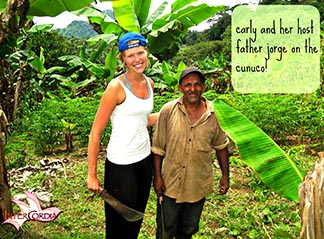 An Intercordia student and her host on the cunuco or plantation in the Dominican Republic.
